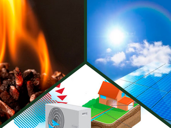 los tres modelos de energia renovable aerotermia biomasa y solar termica